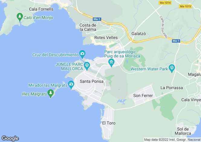 Map for Sea view villa with stunning views towards the beach & sea, Santa Ponsa