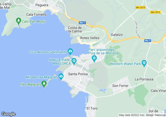 Map for Nova Santa Ponsa, Mallorca, Balearic Islands