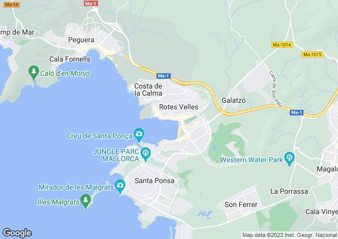 Map for Balearic Islands, Mallorca, Santa Ponsa