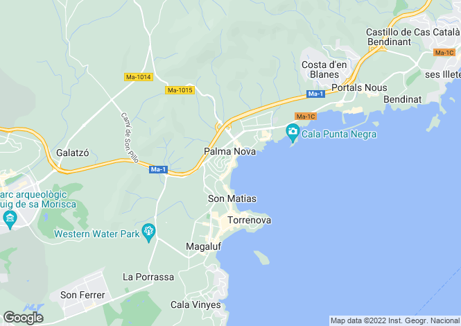 Map for Spain - Balearic Islands, Mallorca, Palma Nova