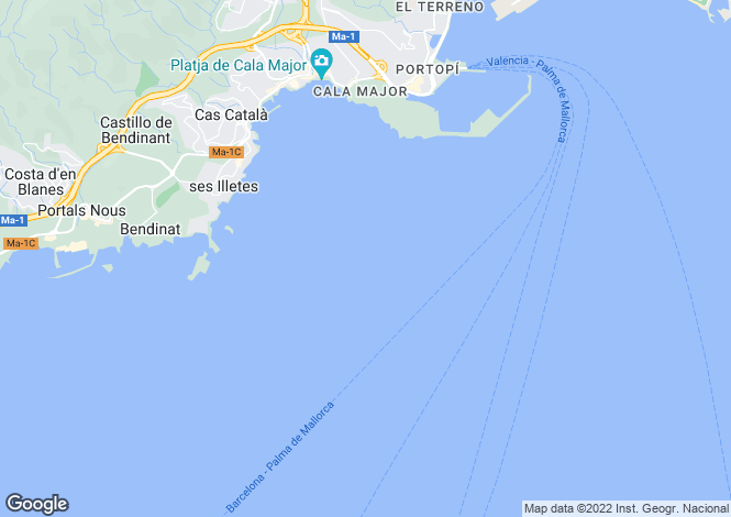 Map for Cala Mayor, Mallorca, Balearic Islands