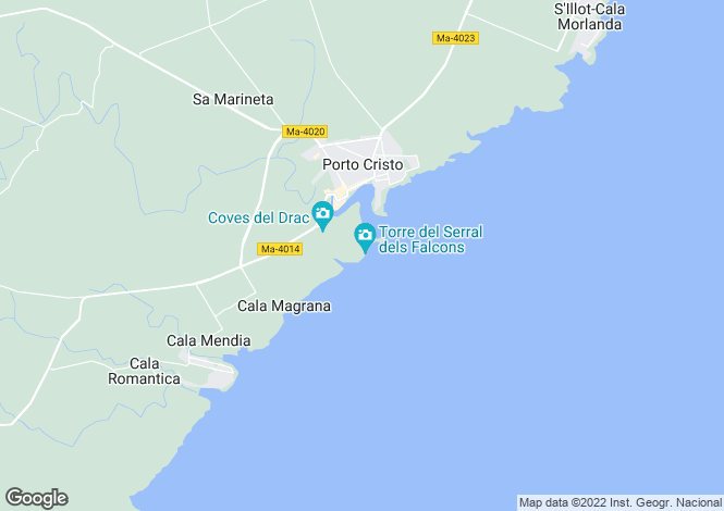Map for Porto Cristo's winning smash, 5 bedroom ultra-modern luxury Villa