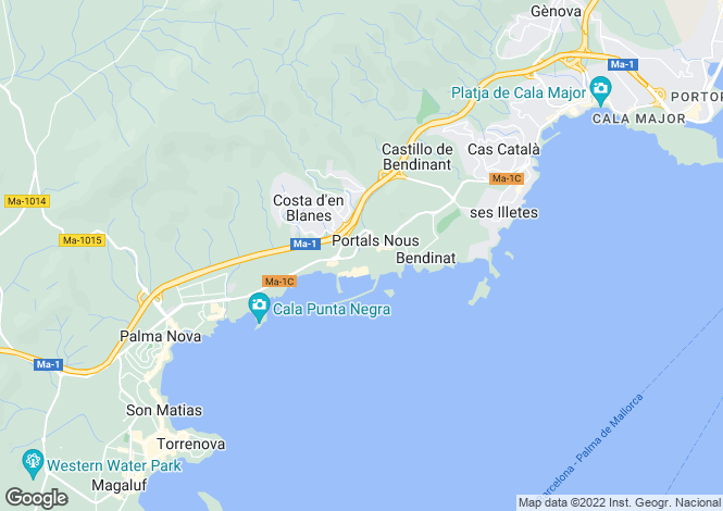 Map for Portals Nous, Mallorca, Balearic Islands