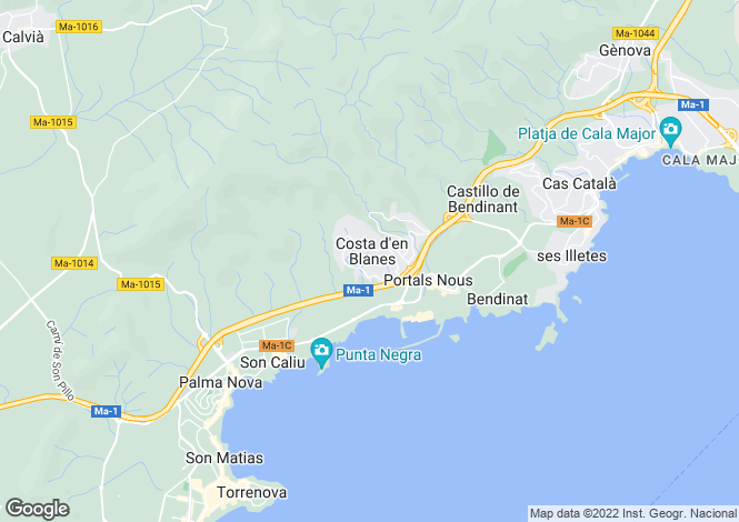 Map for Costa D'en Blanes, Mallorca, Balearic Islands