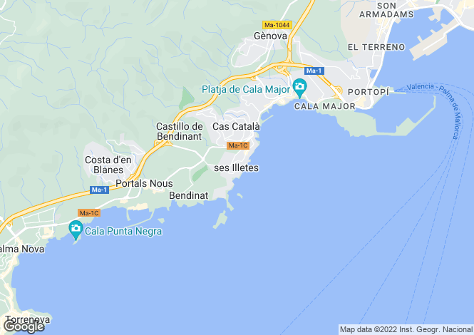 Map for Balearic Islands, Mallorca, Illetes