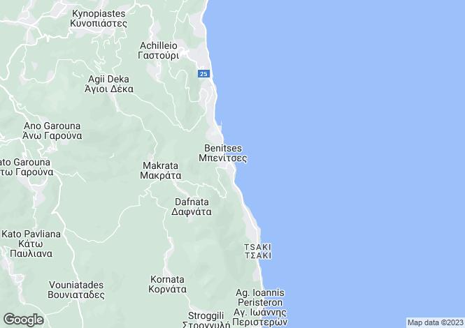 Map for Ionian Islands, Corfu, Benitses