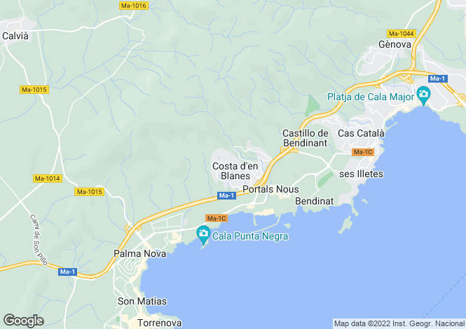 Map for Villa With Panoramic Views, Costa D'en Blanes, Mallorca