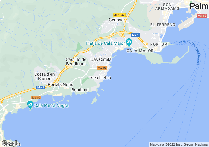 Map for Illetes, Mallorca, Balearic Islands