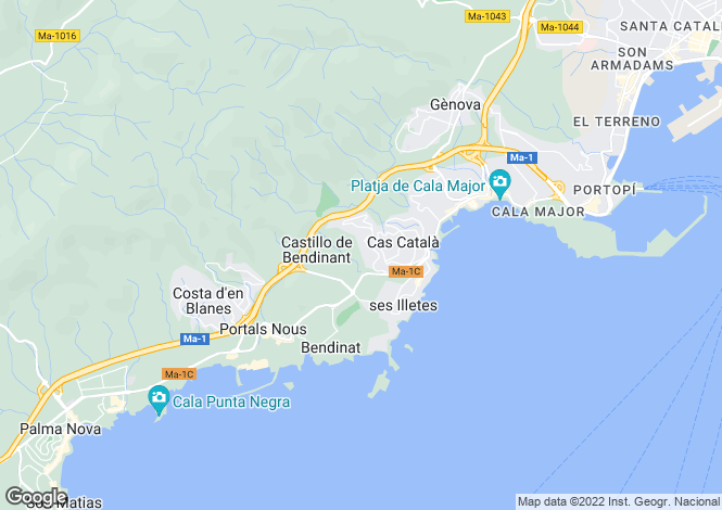 Map for Balearic Islands, Mallorca, Bendinat