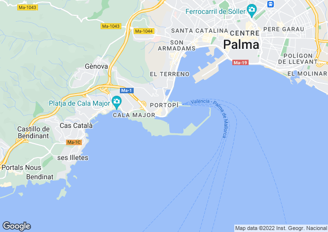 Map for Palma, Mallorca, Spain