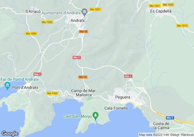 Map for Cala Fornells, Mallorca, Balearic Islands