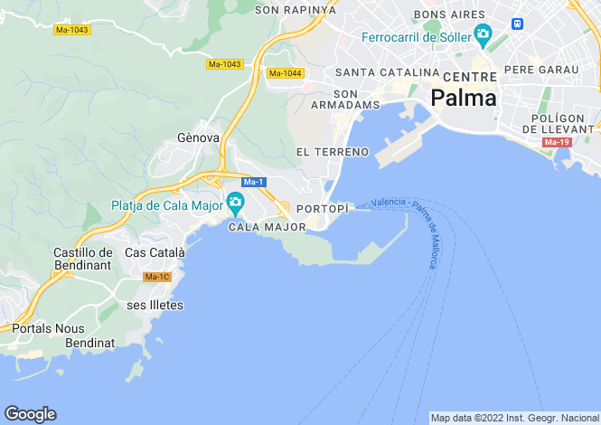 Map for Palma de Majorca, Mallorca, Balearic Islands