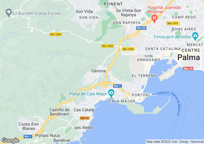 Map for Balearic Islands, Mallorca, Genova