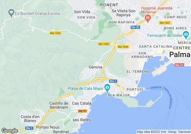Map for Gènova, Mallorca, Balearic Islands