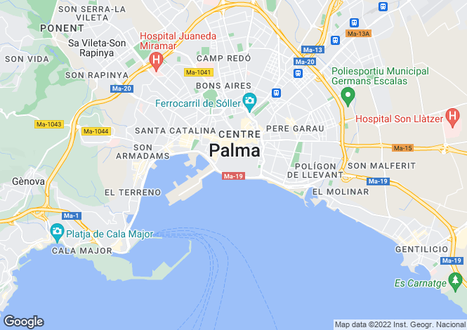 Map for Seafront Apartment In Old Town, Palma de Mallorca, Mallorca