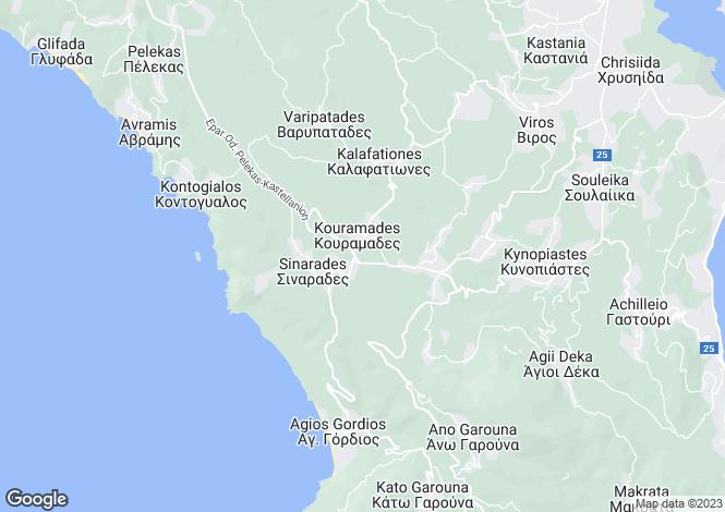 Map for Ionian Islands, Corfu, Kinopiastes