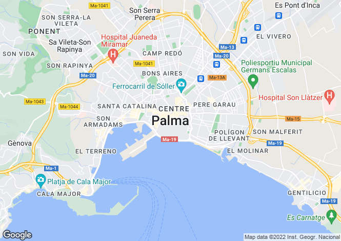 Map for Spain - Balearic Islands, Mallorca, Genova