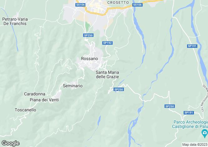 Map for Calabria, Cosenza, Rossano
