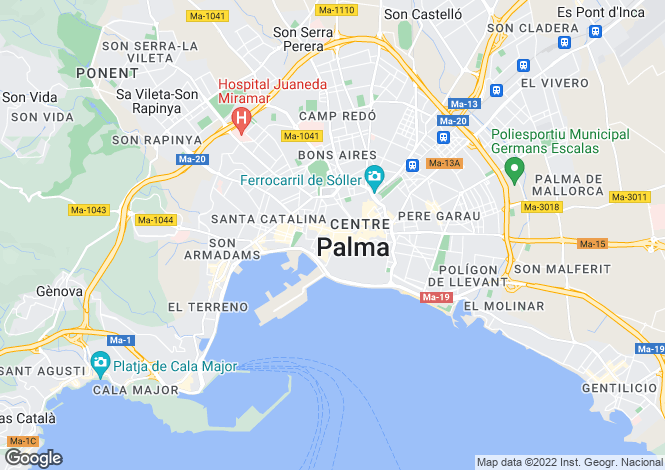 Map for Spain - Balearic Islands, Mallorca, Palma de Mallorca