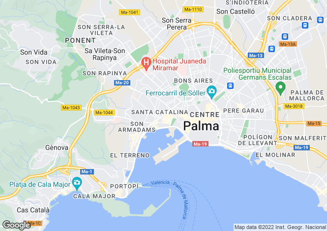 Map for Penthouse With Large Terrace, Santa Catalina, Mallorca