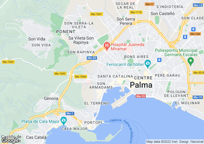Map for Palma, Mallorca, Spain