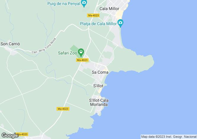 Map for Balearic Islands, Mallorca, Sa Coma