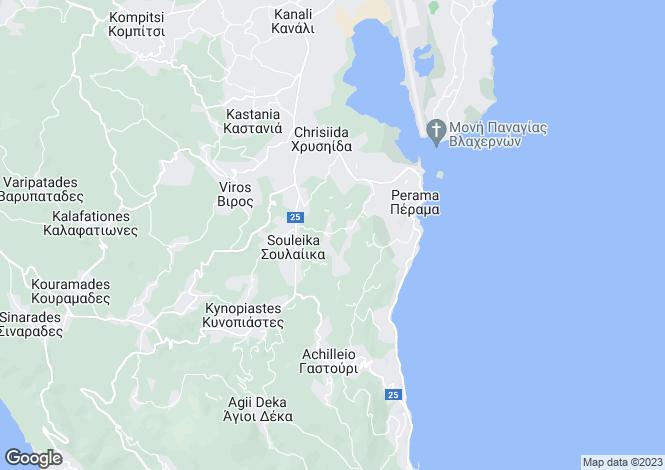 Map for Ionian Islands, Corfu, Perama