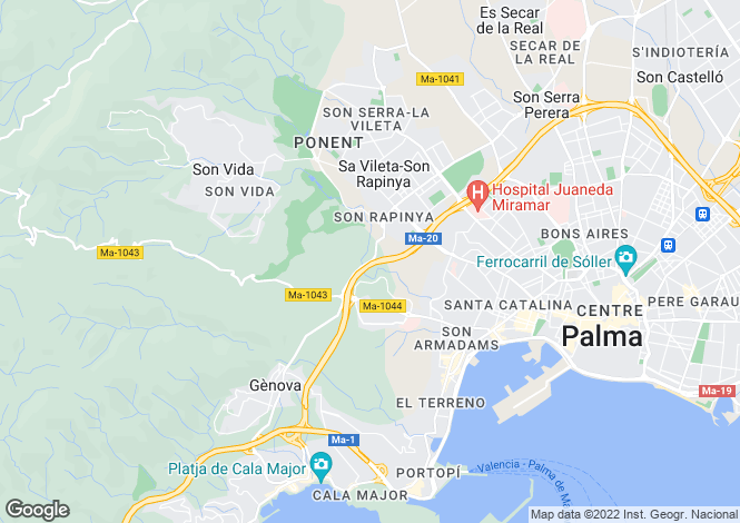 Map for Balearic Islands, Mallorca, Palma Casco Antiguo