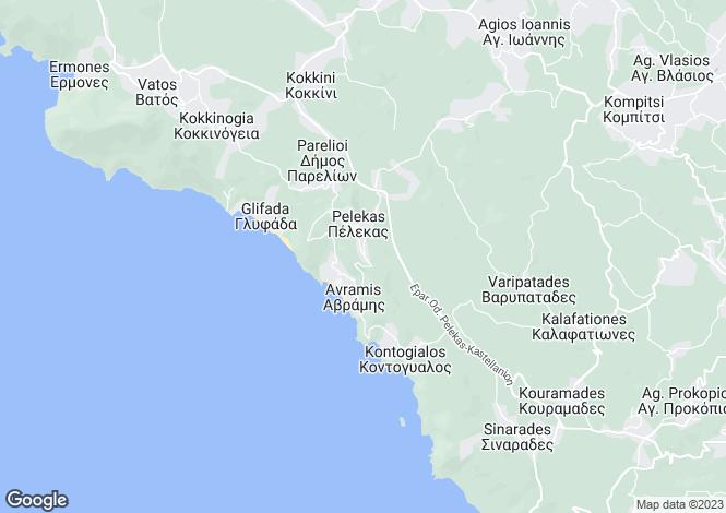 Map for Ionian Islands, Corfu, Pelekas