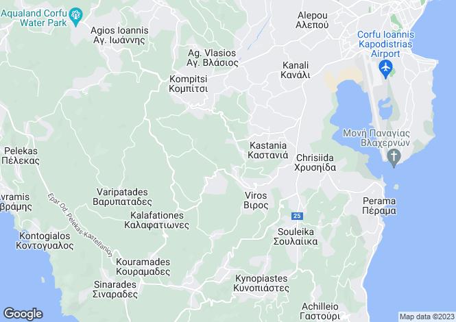 Map for Ionian Islands, Corfu, Viros