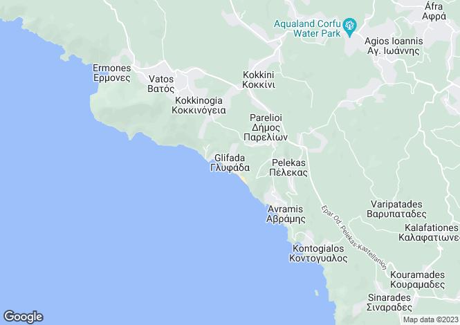 Map for Ionian Islands, Corfu, Glyfada