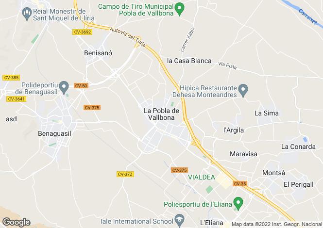 Map for Valencia, Valencia, La Pobla de Vallbona
