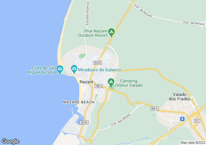 Map for Nazaré,  Silver Coast