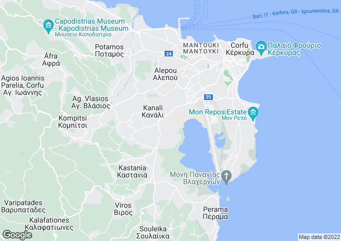 Map for Kanali, Corfu, Ionian Islands