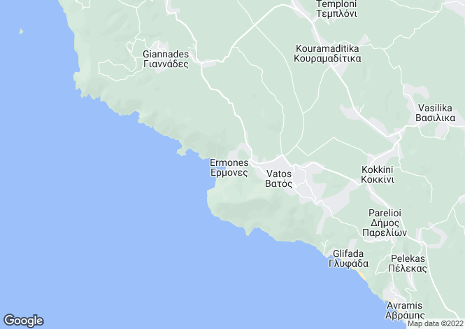 Map for Ionian Islands, Corfu, Ermones