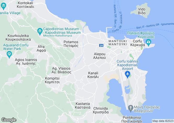 Map for Ionian Islands, Corfu, Alepou