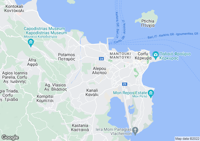Map for MARKOS VILLAS, near Corfu Town