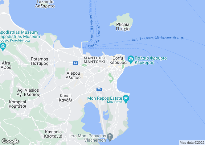 Map for Kerkyra, Corfu, Ionian Islands