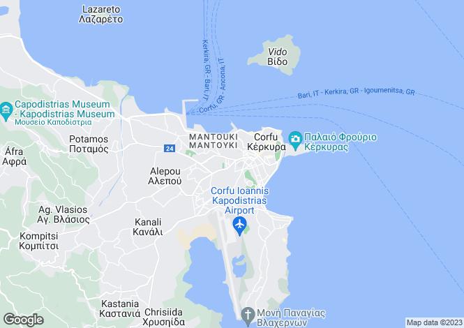 Map for Ionian Islands, Corfu, Kerkyra