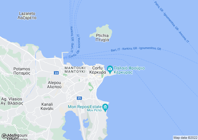 Map for , North East Corfu, Greece