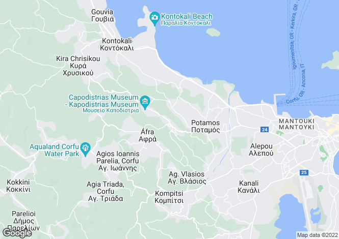 Map for Ionian Islands, Corfu, Evropouli