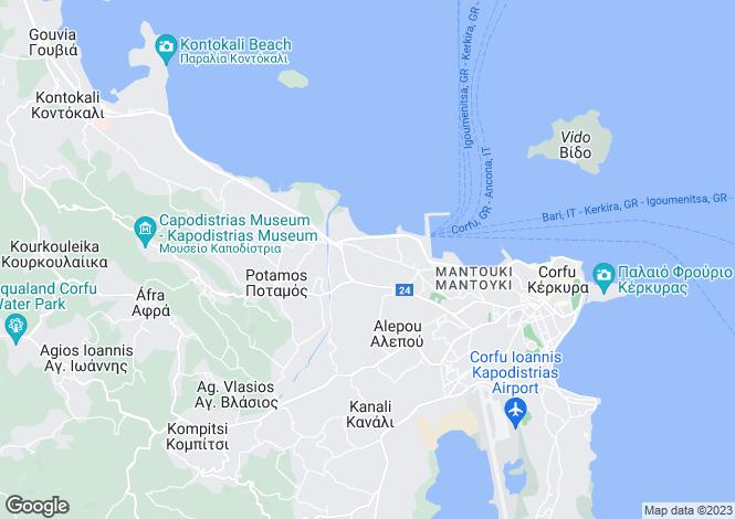 Map for Ionian Islands, Corfu, Potamos