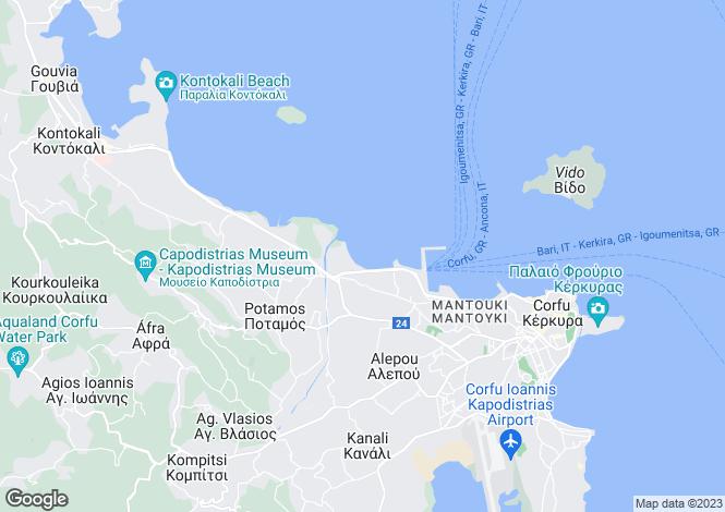 Map for Kerkyra, Corfu, Ionian Islands