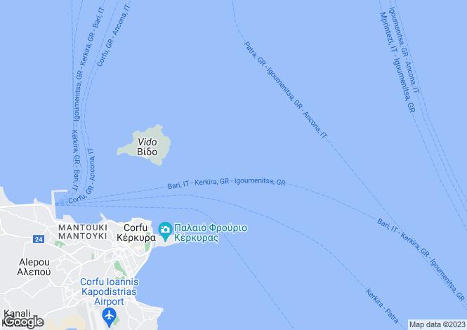 Map for Ionian Islands, Corfu, Agni