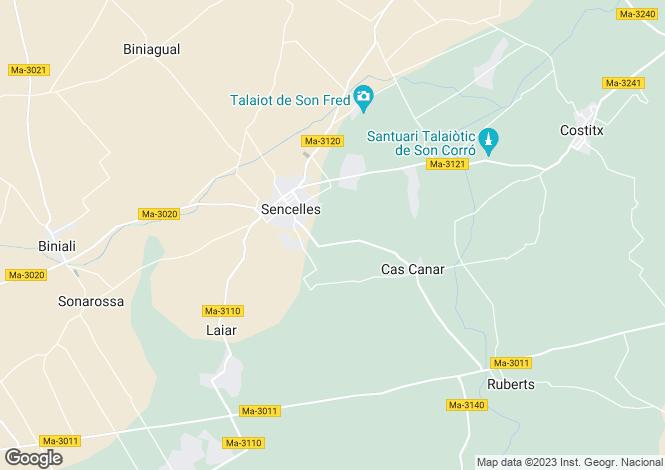 Map for Sencellas, Mallorca, Balearic Islands