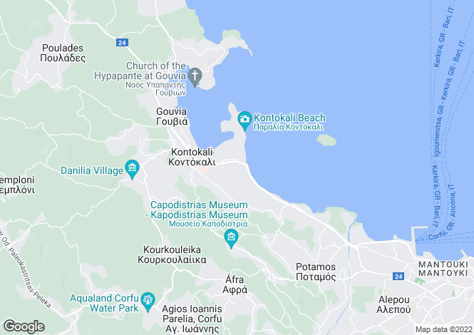 Map for Ionian Islands, Corfu, Gouvia
