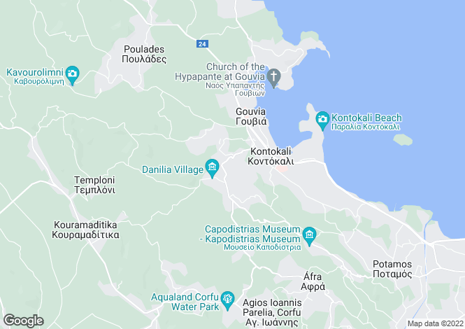 Map for Ionian Islands, Corfu, Kontokali