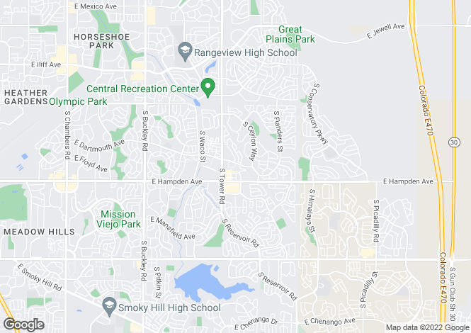 Map for USA - Colorado, Adams County, Aurora