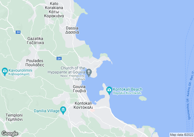 Map for Ionian Islands, Corfu, Kommeno
