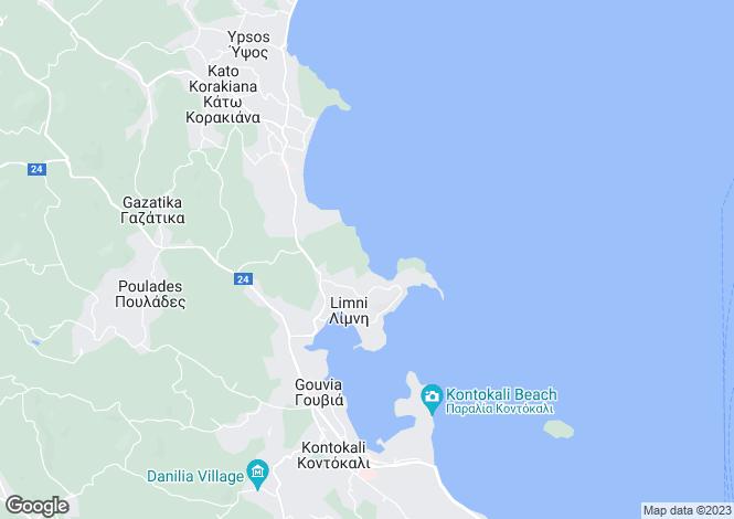 Map for Ionian Islands, Corfu, Dassia